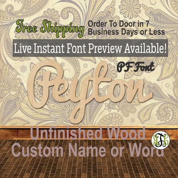 Custom Wood Name Sign, PF Font, Cursive, Connected, wood cut out, wood cutout, wooden sign, Nursery, Wedding, Birthday, word sign, Script