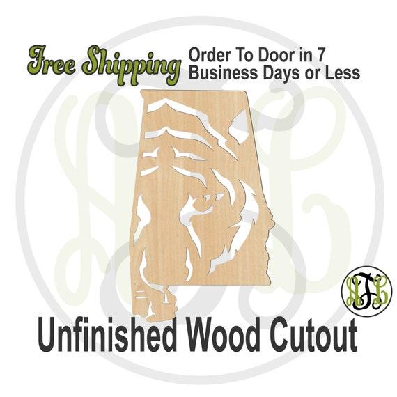 Alabama with Tiger - 60231- School Spirit Cutout, unfinished, wood cutout, wood craft, laser cut, wood cut out, Door Hanger, wooden