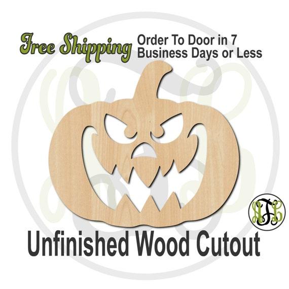 Pumpkin 6- 160028- Halloween Cutout, unfinished, wood cutout, wood craft, laser cut shape, wood cut out, Door Hanger, Jack O Lantern, wooden