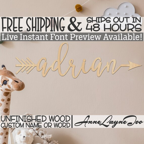 Custom Name Arrows - 990040Name, Wedding Cutout, unfinished, wood cutout, laser cut, direction arrow, tribal, wooden sign- 48 HOURS