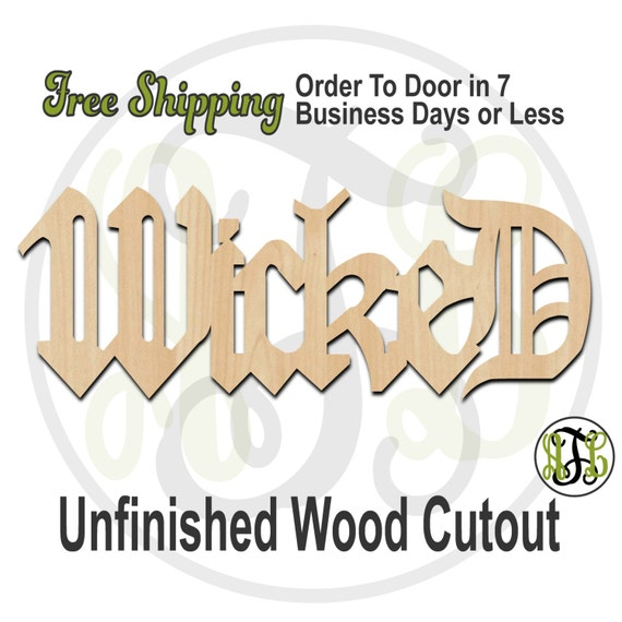Wicked - 320006- Word Cutout, unfinished, wood cutout, wood craft, laser cut wood, wood cut out, Door Hanger, wooden sign, wall art