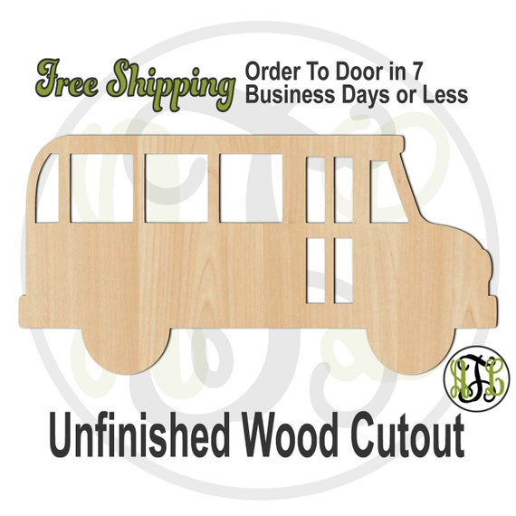 School Bus Side Outline - 70014- School Cutout, unfinished, wood cutout, wood craft, laser cut wood, wood cut out, Door Hanger, wooden sign