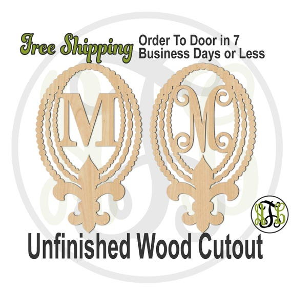 Beads and Fleur de Lis with Initial in CSCBTB or VINE BOLD, 130013M1, Monogram, laser cut wood cut out, Wedding, wooden, Door Hanger