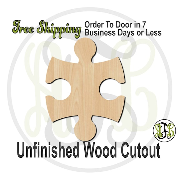 Interlocking Puzzle Piece - 300150- Cutout, unfinished, wood cutout, wood craft, laser cut, wood cut out, Door Hanger, Guest Book, wooden
