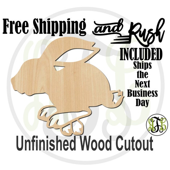 Hopping Bunny - 140012- Easter Cutout, unfinished, wood cutout, laser cut wood, Door Hanger, wreath accent - RUSH PRODUCTION