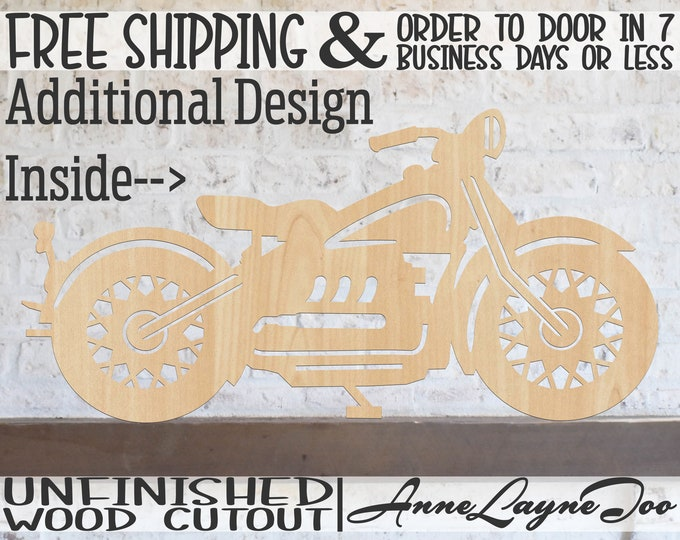 Motorcycle Outline or Solid Wood Cutout, Motorbike Wall Art, Chopper Cutout, Hog Cutout, unfinished, wood cut out, laser cut -300248-49
