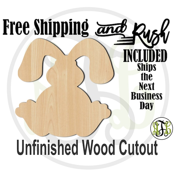 Bunny 3- 230039- Easter Cutout, unfinished, wood cutout,  laser cut shape, Door Hanger, wall art - RUSH PRODUCTION