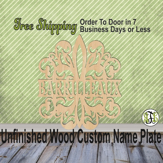 Flourish Fleur de Damask Name Plate- 420004NP- Personalized Cutout, unfinished, wood cutout, wood, laser cut out, Wedding, Family, wooden
