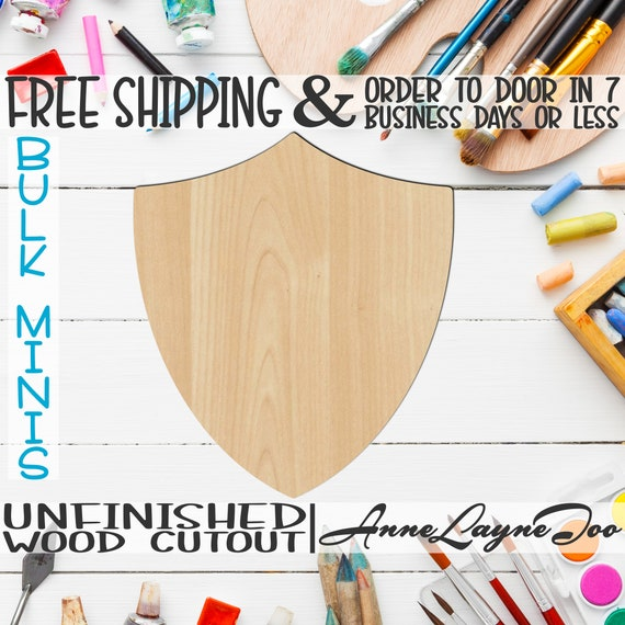 """Shield Plaque- 2"""" to 6"""" Minis, Small Wood Cutout, unfinished, wood cutout, wood craft, laser cut, wood cut out, ornament -40061"""