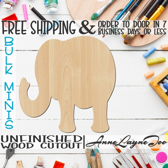 """Elephant 1- 2"""" to 6"""" Minis, Small Wood Cutout, unfinished, wood cutout, wood craft, laser cut, wood cut out, ornament -230003"""