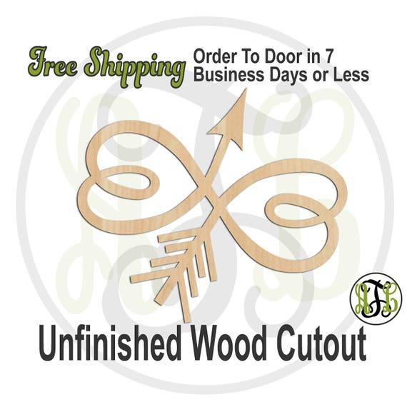 Infinity Heart Arrow- 110025- Valentine Cutout, unfinished, wood cutout, wooden, laser cut wood, wood cut out, Door Hanger, wreath accent