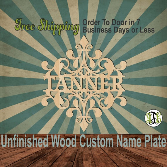 Diamond Damask Name Plate- 420001NP- Personalized Cutout, unfinished, wood cutout, wood, laser cut wood out, Wedding, Family, wooden sign