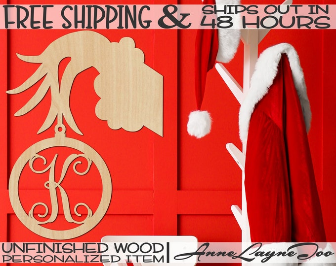 Hand Holding Ornament Monogram Wood Cutout, Christmas, Door Hanger, unfinished, wood cut out, laser cut, Ships in 48 HOURS -189003M1 A-Z