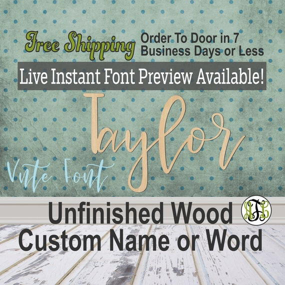 Custom Wood Name Sign, Vnte Font, Cursive, Connected, wood cut out, wood cutout, wooden, Nursery, Wedding, Birthday, word sign, Script