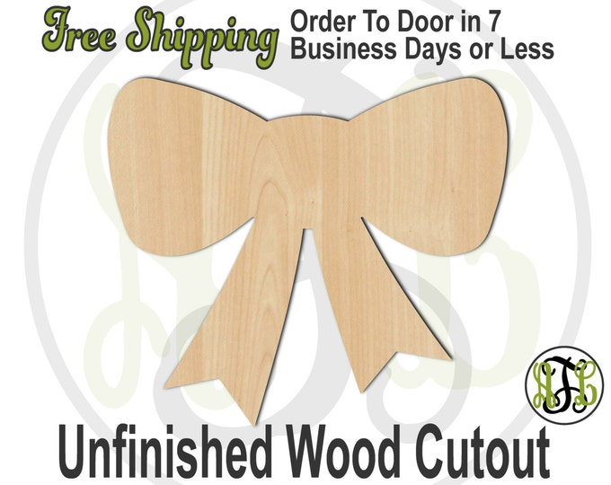 Bow- 300045- Cutout, unfinished, wood cutout, wood craft, laser cut shape, wood cut out, Door Hanger, Christmas, Birthday, Gift, wooden