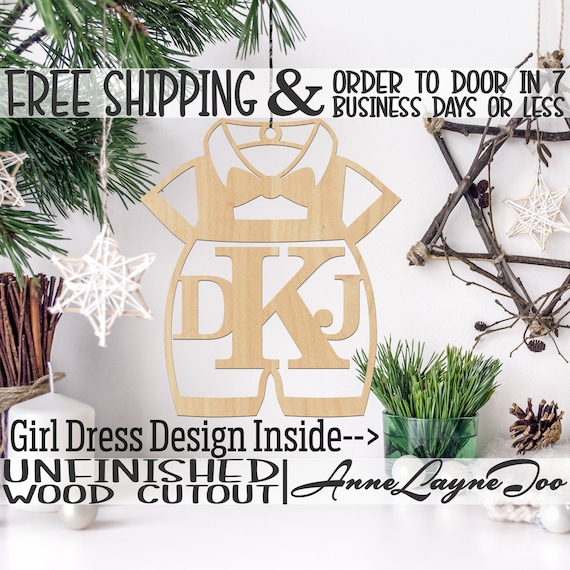 Ornament Dress or Romper Monogram, Rustic Unfinished Ornament, wood cutout, laser cut,  Car Charm, Wooden Keepsake- 20016 or 10034M3-BO