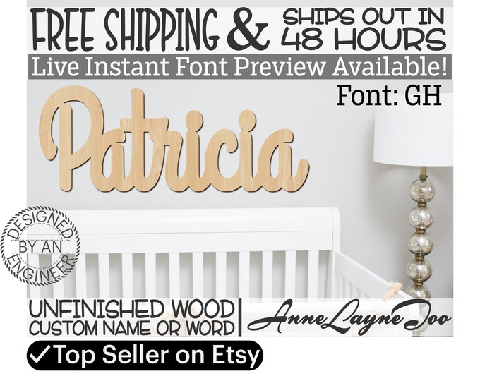 Wooden Name Sign, GH Font,  unfinished wood cutout, Custom Wood Name Sign, Nursery Sign, Wedding Sign, Birthday Sign, Name in Wood- 48 HOURS