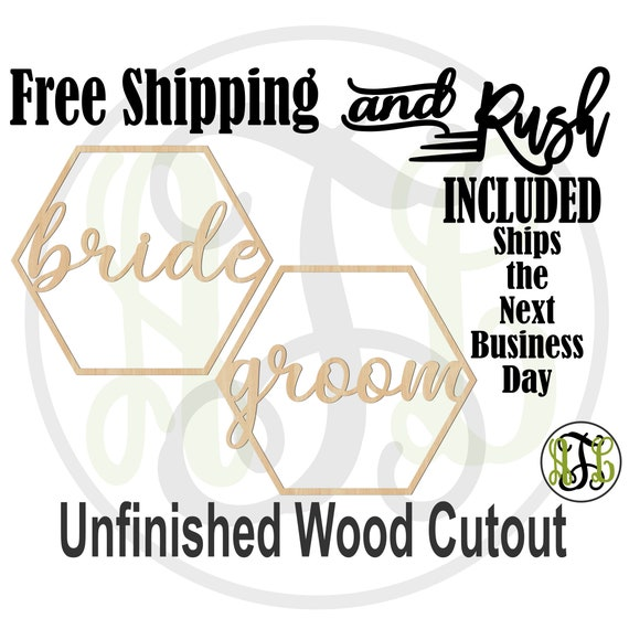Pair of Honeycomb bride and groom Wooden Chair Signs, Wedding Cutouts, unfinished, wood cut outs, laser cut -321006-321007- RUSH PRODUCTION