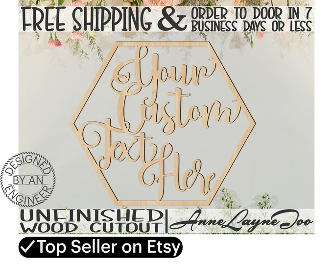Custom Text in Honeycomb Frame, Event Cutout, laser cut wood, Door Hanger, boy, girl, wooden sign, Birthday sign, Anniversary sign - 990059