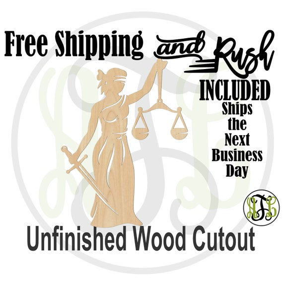 Lady Of Justice -300216- Legal Cutout, unfinished, wood cutout, wood shape, laser wood cutout, Door Hanger, Law and Order - RUSH PRODUCTION