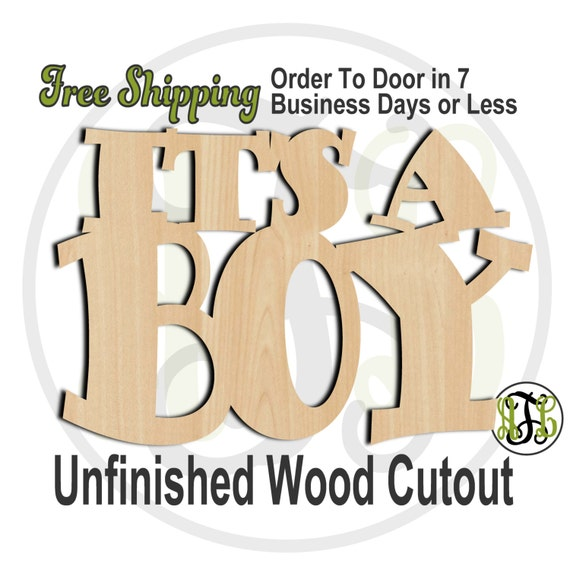 It's A Boy - 320001B- Gender Reveal Cutout, unfinished, wood cutout, wood craft, laser cut shape, wood cut out, Door Hanger, wooden sign