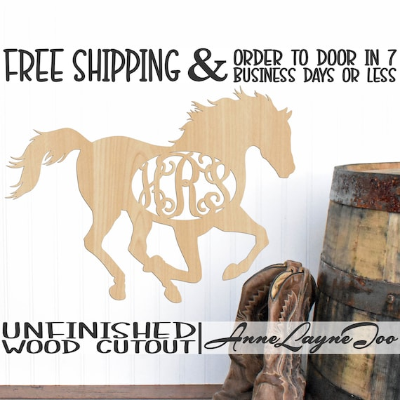 Horse Monogram Wood Cutout, Animal Cutout, Wooden Horse Monogram, Equestrian, Racing, unfinished, wood cut out, laser cut -230109M3
