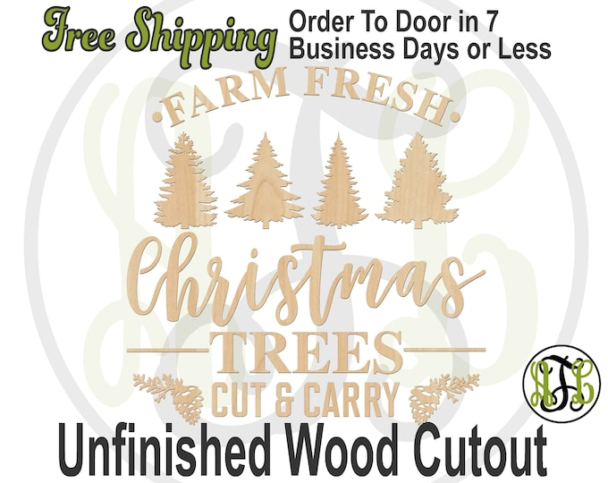 FARM FRESH Christmas Trees w/ Trees, Wood Wall Phrase Cutout, laser cutout, wooden sign, wooden wall phrase, unfinished wood cutout - 325145