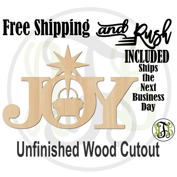 Joy with Manger & Star-180253- Christmas Cutout, unfinished, wood cutout,  laser cut wood, sign, Door Hanger - RUSH PRODUCTION