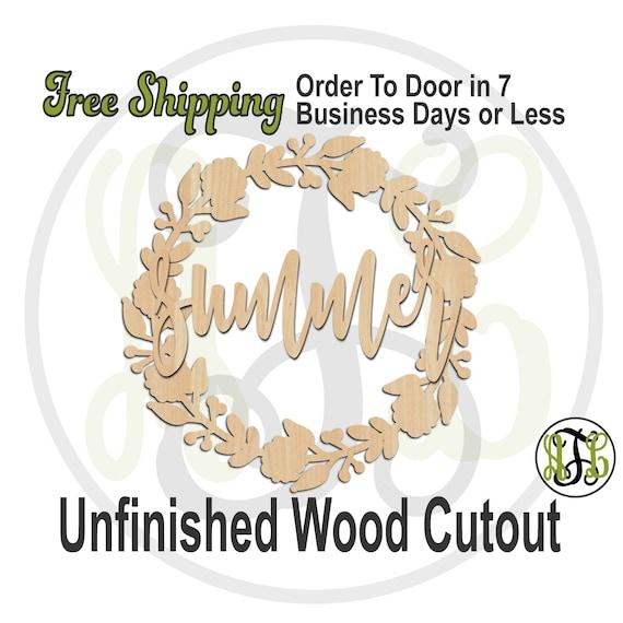 summer with Buds & Flowers Wreath, 300163-15 thru 30, laser cut wood cutout, Door Hanger, Door Sign, wooden sign, wall art