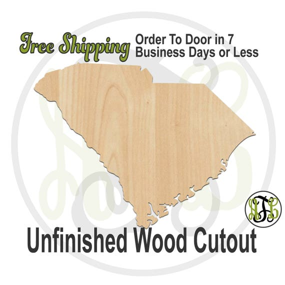 South Carolina State- 270036- State Cutout, unfinished, wood cutout, wood craft, laser cut shape, wood cut out, Door Hanger, wooden