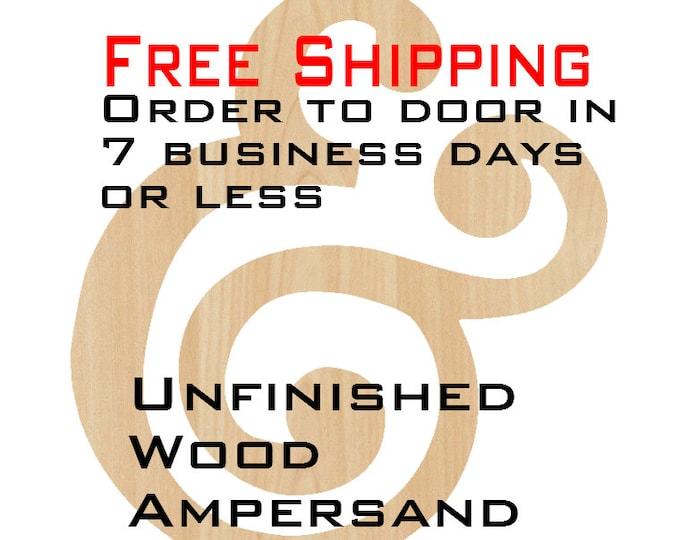 Unfinished Wood Ampersand, &, Door Hanger, Wedding, Wood Craft, laser cut wood wood, birch, wooden sign, wall art