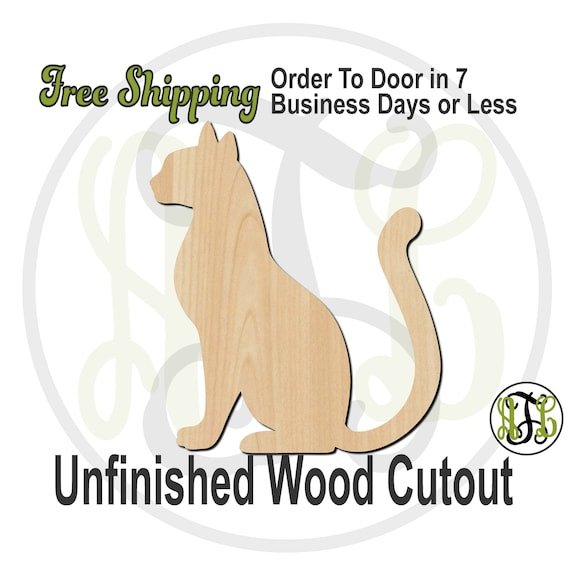 Sitting Cat - 230115- Feline Cutout, unfinished, wood cutout, wood craft, laser cut shape, wood cut out, Door Hanger, wooden, blank