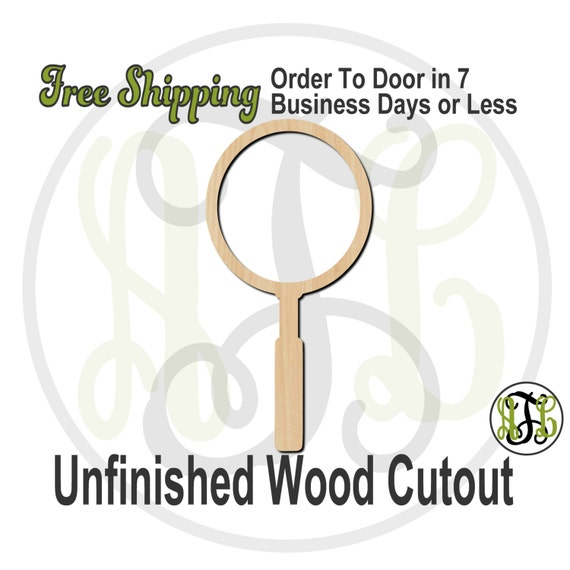 Magnifying Glass - 300141- Cutout, unfinished, wood cutout, wood craft, laser cut shape, wood cut out, Door Hanger, wooden, ready to paint