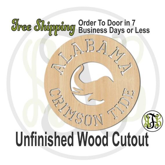Alabama and Elephant - 60107- School Spirit Cutout, unfinished, wood cutout, wood craft, laser cut shape, wood cut out, Door Hanger, wooden