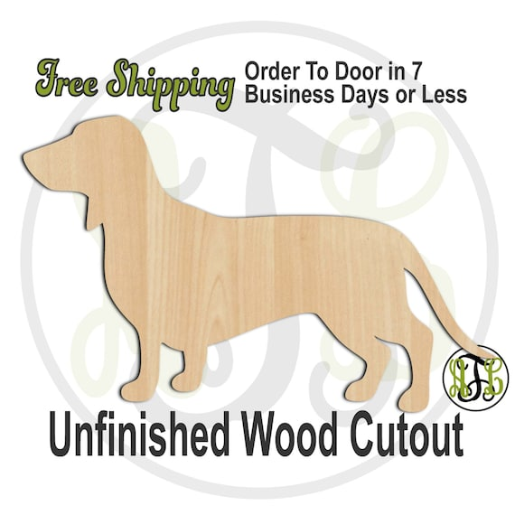 Dachshund- No. 230067- Dog Cutout, unfinished, wood cutout, wood craft, laser cut shape, wood cut out, Door Hanger, Dog, wooden, blank