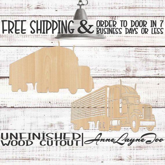Tractor Trailer Wood Cutout, Semi Truck Wooden Cut Out, 18 Wheeler Cutout, Truck Wall Art, unfinished, laser cut, wood cut out -300230-31