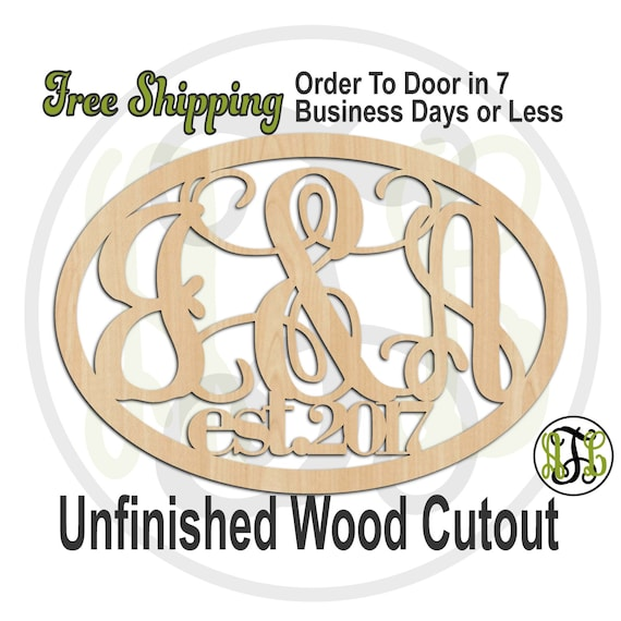 2 Initial Monogram Established Date - 990005M3- Personalized Cutout, unfinished, wood cutout, wood craft, laser cut, wooden, Door Hanger