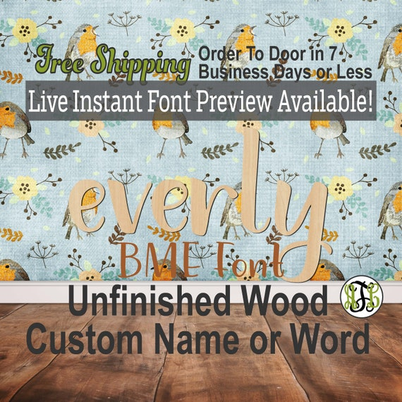 BME Font Name / Word / Phrase- Block Alphabet Cutout, unfinished, wood cutout, laser cut wood, wood cut out, wooden,  Live Font Preview