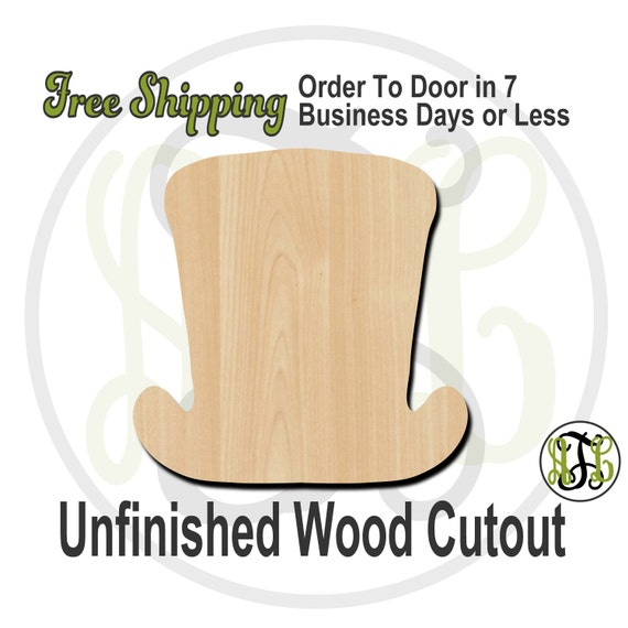 "Top Hat- 1"" to 6"" Minis- 10001- Small Wood Cutout, unfinished, wood cutout, wood craft, laser cut shape, wood cut out, ornament"