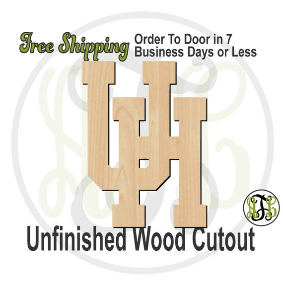 Interlocking U and H - 60153- School Spirit Cutout, logo, unfinished, wood cutout, wood craft, laser cut, wood cut out, Door Hanger, wooden