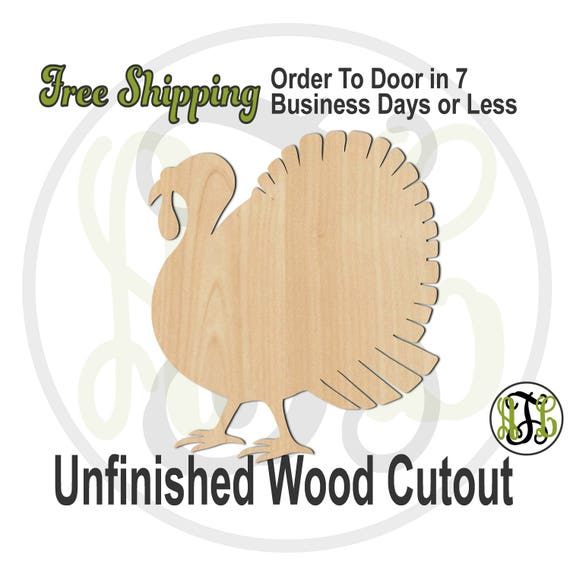 Turkey 5- 170023- Thanksgiving Cutout, unfinished, wood cutout, wood craft, laser cut shape, wood cut out, Door Hanger, Holiday, bird