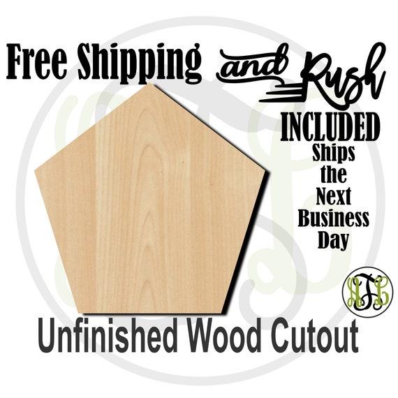 Plaque Pentagon- 40043- 5 Sided Shape Cutout, unfinished, wood cutout,  laser cut shape, DIY, Free Shipping - RUSH PRODUCTION