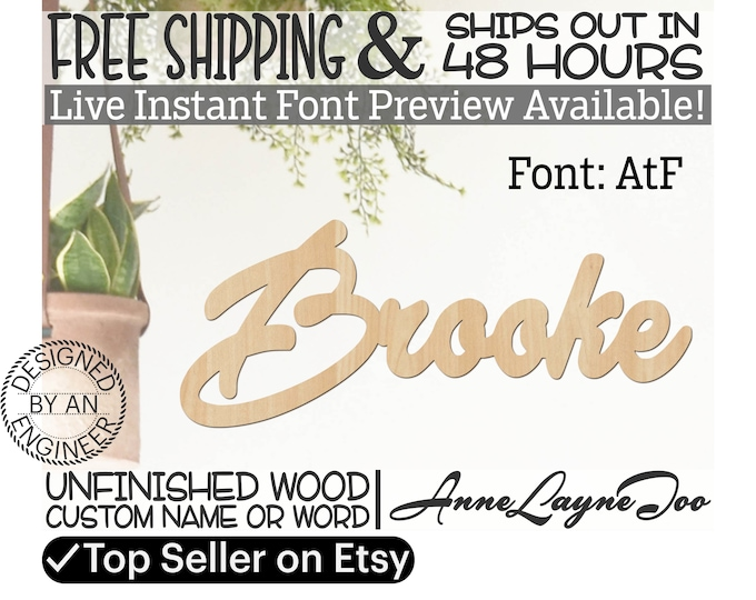 Wooden Name Sign, AtF Font,  unfinished wood cutout, Custom Wood Name Sign, Nursery Sign, Wedding, Birthday Sign, Name in Wood- 48 HOURS