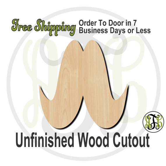 Mustache - 10003- Cutout, unfinished, wood cutout, wood craft, laser cut shape, wood cut out, Door Hanger, wooden, ready to paint