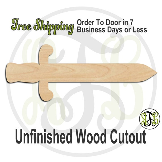 Sword 1 - 300014- Cutout, unfinished, wood cutout, wood craft, laser cut shape, wood cut out, Door Hanger, wooden, ready to paint