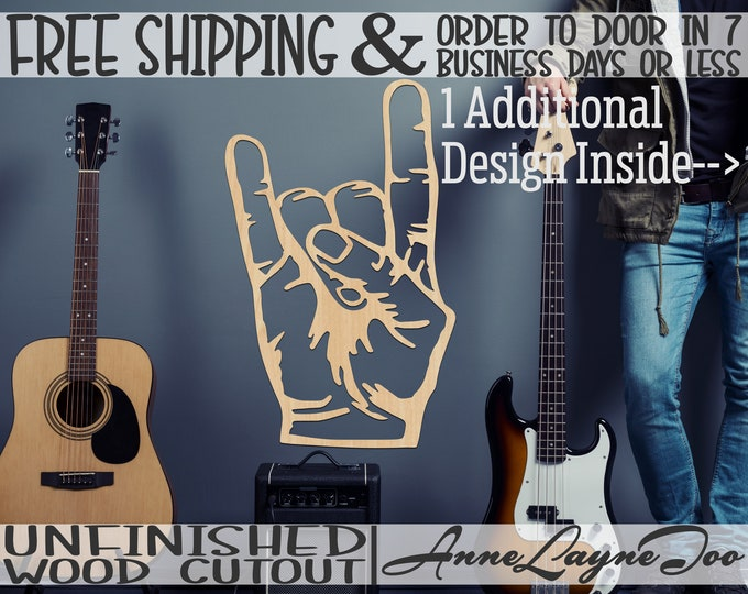 Rock On Hand Outline & Solid Wood Cutout, Wooden Door Hanger, Garage Band Rock On Cutout, unfinished, wood cut out, laser cut -300236-37