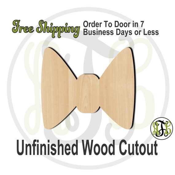 """Bow Tie- 2"""" to 6"""" Minis- 10002- Small Wood Cutout, unfinished, wood cutout, wood craft, laser cut shape, wood cut out, ornament"""