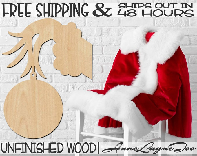 Hand Holding Ornament Wood Cutout, Christmas, Wooden Door Hanger, wooden, unfinished, wood cut out, laser cut, Ships in 48 HOURS -180097