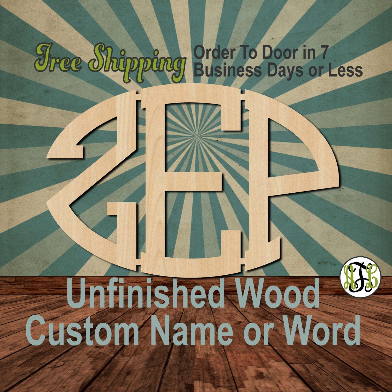 3 Letter Oval Monogram, Unfinished Wood, Connected, Craft, laser cut
