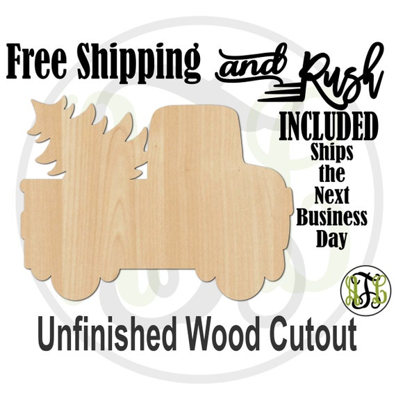 Old Truck and Tree - 180081- Christmas Cutout, unfinished, wood cutout, laser cut shape, Holiday, wall art - RUSH PRODUCTION